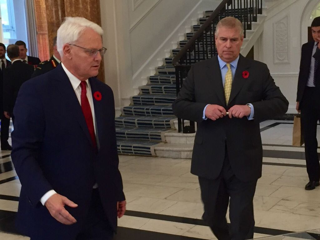 Prince Andrew signing Canada House Royal Guest Book